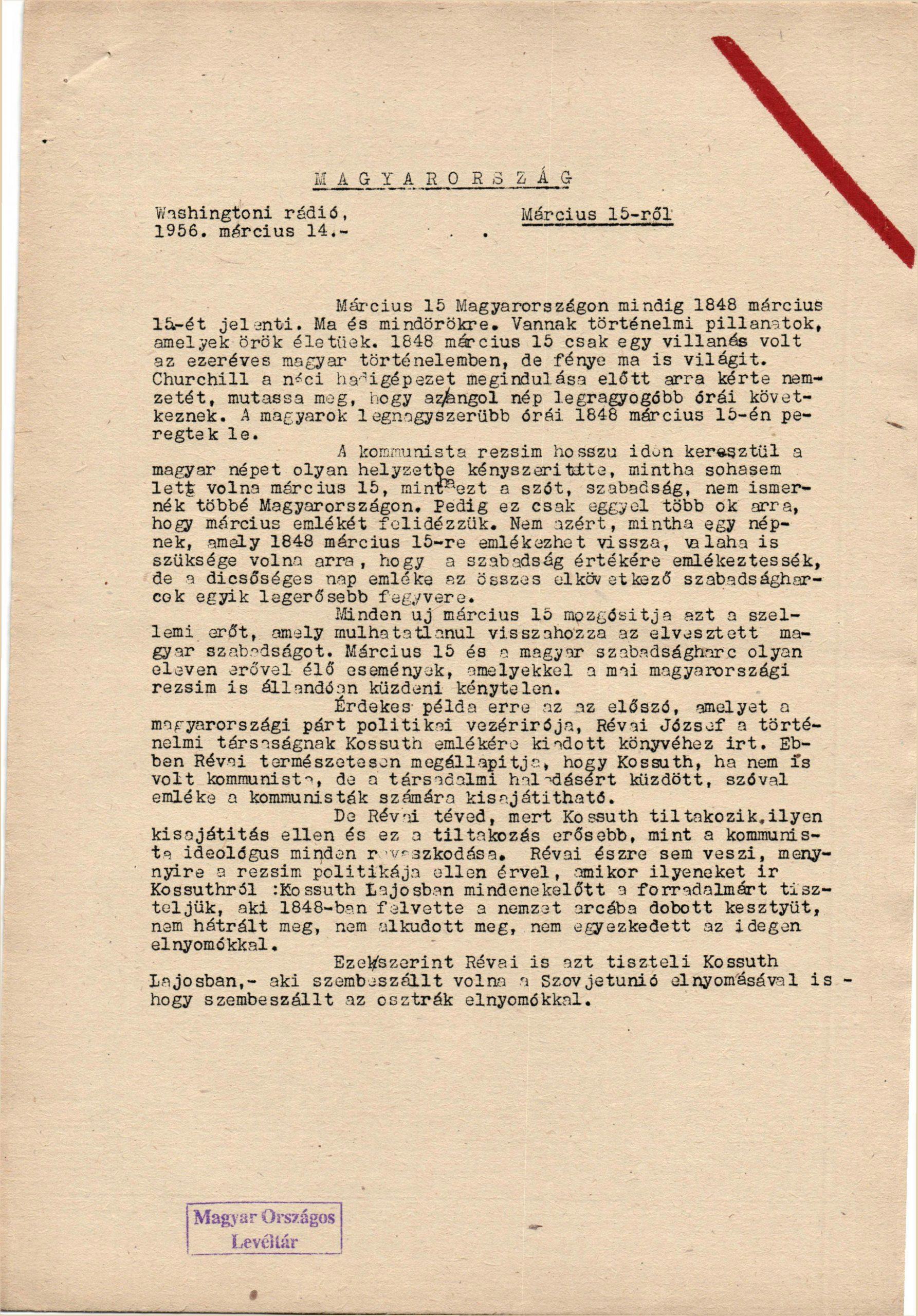 Szigorúan bizalmas! – 1956 március 15-ei követelések. Részlet